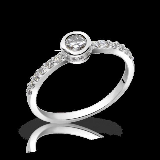 Zlatý dámský prsten DF 2803 z bílého zlata, s briliantem