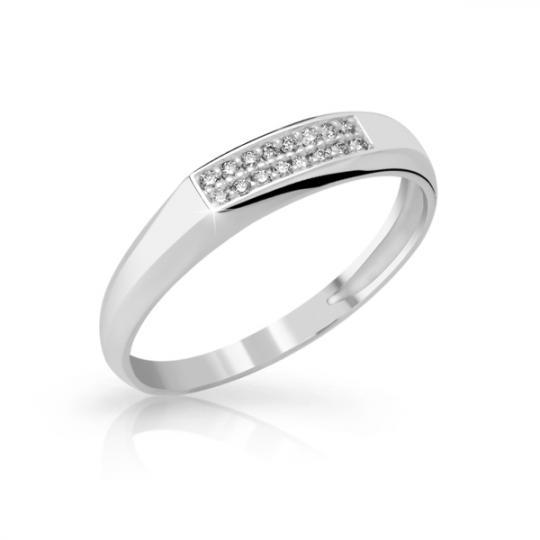 Zlatý dámský prsten DF 2838 z bílého zlata, s briliantem
