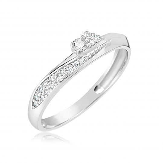 Zlatý dámský prsten DF 2862 z bílého zlata, s briliantem