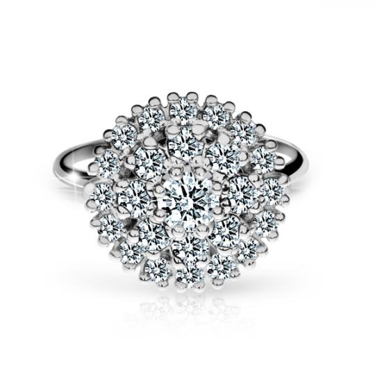Zlatý dámsky prsteň DF 2888 z bieleho zlata, s briliantom