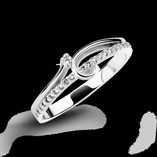 Zlatý dámský prsten DF 2950 z bílého zlata, s briliantem