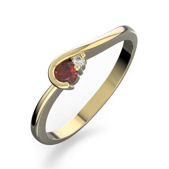 Zlatý dámský prsten DF 2953 ze žlutého zlata, rubín s diamanty