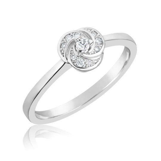 Zlatý dámský prsten DF 3008 z bílého zlata, s briliantem