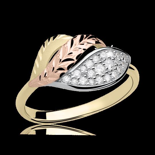 Zlatý dámský prsten DF 3108 ze žlutého zlata, s briliantem