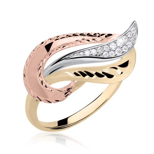 Zlatý dámský prsten DF 3109 ze žlutého zlata, s briliantem