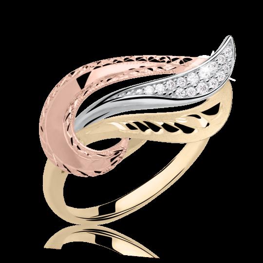 Zlatý dámsky prsteň DF 3109 zo žltého zlata, s briliantom
