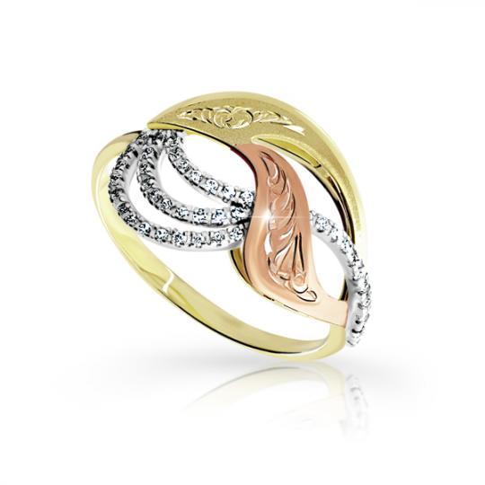 Zlatý dámský prsten DF 3112 ze žlutého zlata, s briliantem