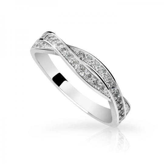 Zlatý dámsky prsteň DF 3187 z bieleho zlata, s briliantom