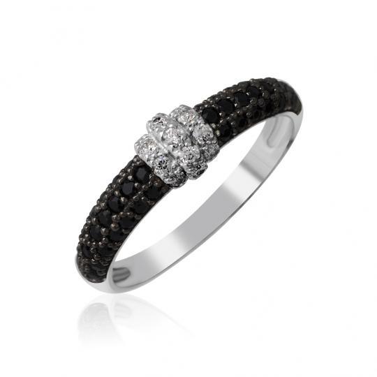 Zlatý dámsky prsteň DF 3190 z bieleho zlata, black briliant s diamantmi stred
