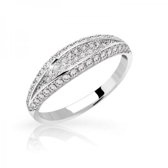 Zlatý dámsky prsteň DF 3191 z bieleho zlata, s briliantom
