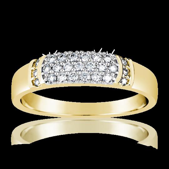 Zlatý dámský prsten DF 3192 ze žlutého zlata, s briliantem