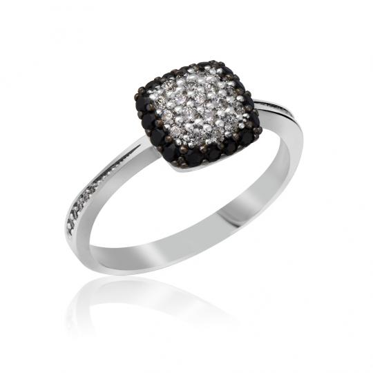Zlatý dámský prsten DF 3198 z bílého zlata, černé a bílé diamanty