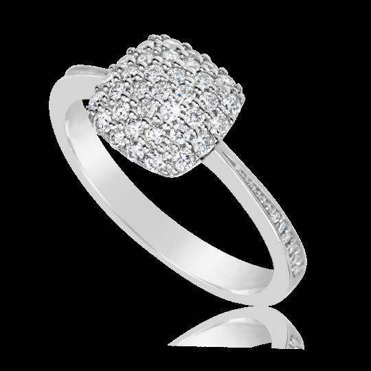 Zlatý dámský prsten DF 3198 z bílého zlata, s briliantem