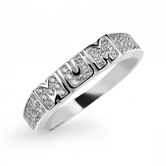 Zlatý dámsky prsteň DF 3202 z bieleho zlata, s briliantom