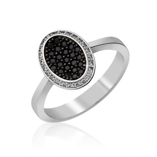 Zlatý dámský prsten DF 3203 z bílého zlata, černé a bílé brilianty