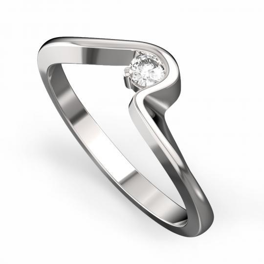 Zlatý dámský prsten DF 3219 z bílého zlata, s briliantem