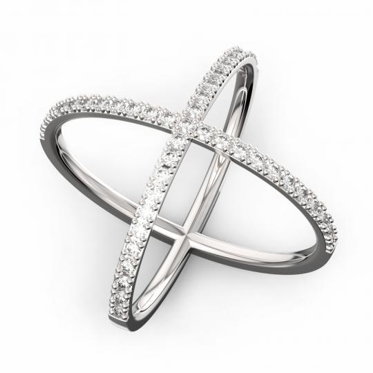 Zlatý dámsky prsteň DF 3253 z bieleho zlata, s briliantom