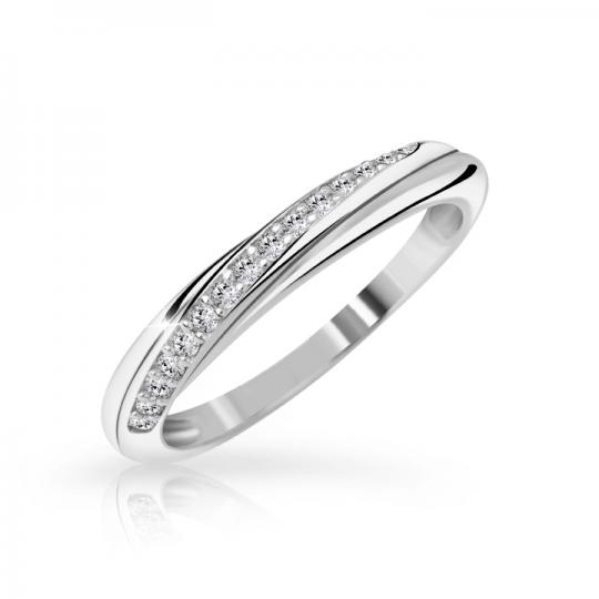 Zlatý dámsky prsteň DF 3302 z bieleho zlata, s briliantom