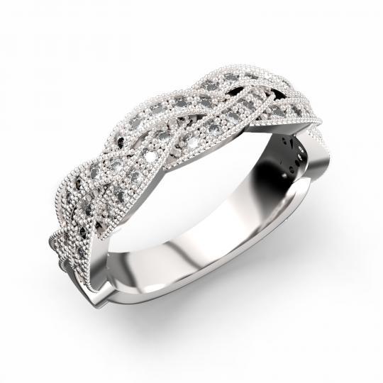 Zlatý dámský prsten DF 3322 z bílého zlata, s briliantem
