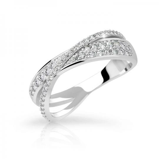 Zlatý dámsky prsteň DF 3348 z bieleho zlata, s briliantom