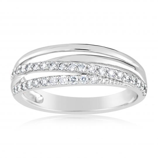 Zlatý dámský prsten DF 3352 z bílého zlata, s briliantem