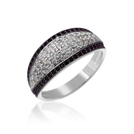 Zlatý dámský prsten DF 3353 z bílého zlata, bílé a černé brilianty