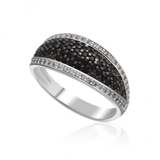 Zlatý dámský prsten DF 3353 z bílého zlata, černé a bílé diamanty