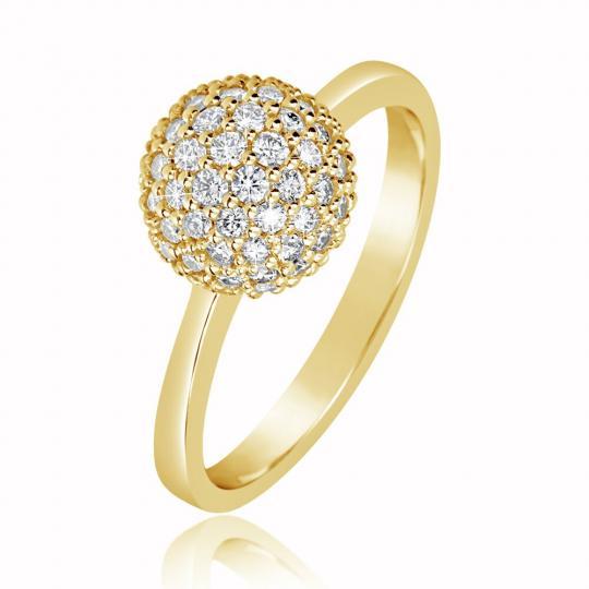 Zlatý dámský prsten DF 3355 ze žlutého zlata, s briliantem