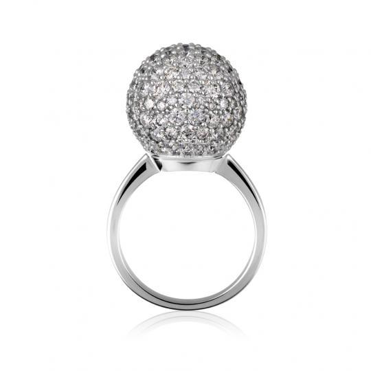 Zlatý dámsky prsteň DF 3436 z bieleho zlata, s briliantom