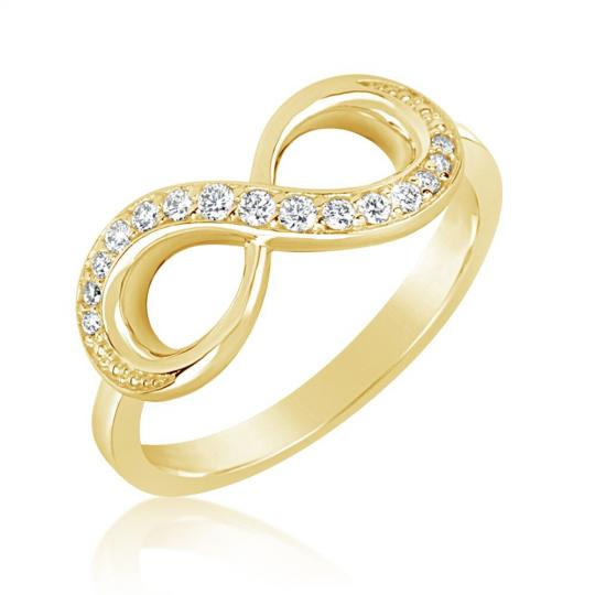 Zlatý dámský prsten DF 3440 ze žlutého zlata, s briliantem