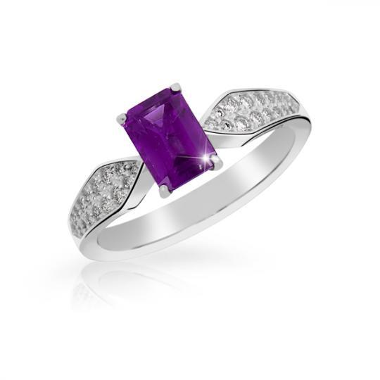 Zlatý dámský prsten DF 3456 z bílého zlata, ametyst s diamanty