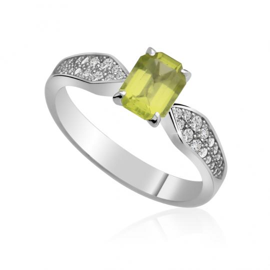 Zlatý dámský prsten DF 3456 z bílého zlata, peridot s diamanty