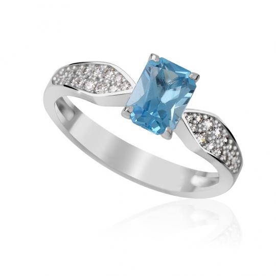Zlatý dámský prsten DF 3456 z bílého zlata, topaz swiss blue s diamanty