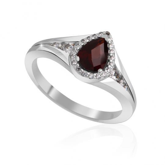 Zlatý dámský prsten DF 3459 z bílého zlata, almandin s diamanty