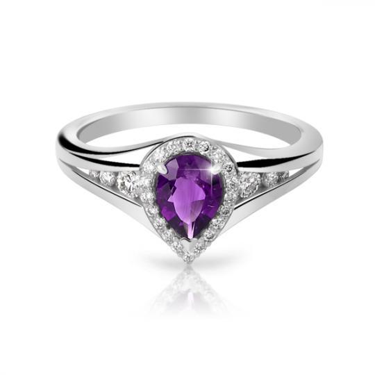 Zlatý dámský prsten DF 3459 z bílého zlata, ametyst s diamanty