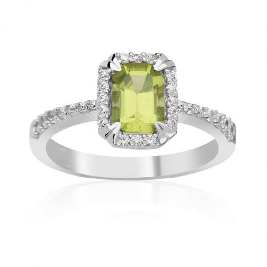 Zlatý dámsky prsteň DF 3464 z bieleho zlata, peridot s diamantmi