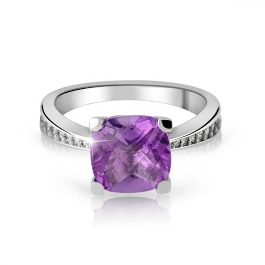Zlatý dámský prsten DF 3487 z bílého zlata, ametyst s diamanty
