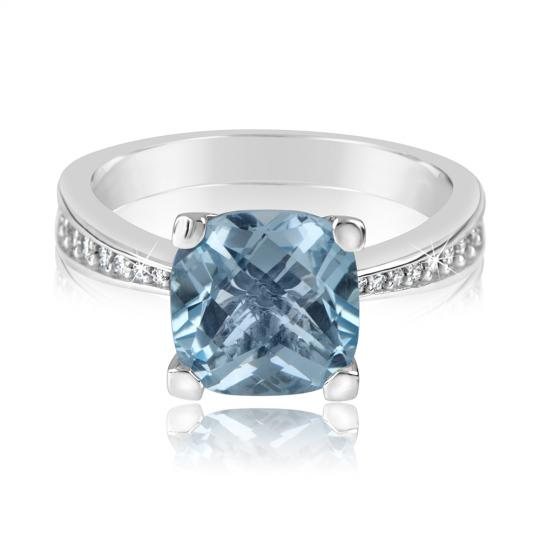 Zlatý dámský prsten DF 3487 z bílého zlata, topaz swiss blue s diamanty