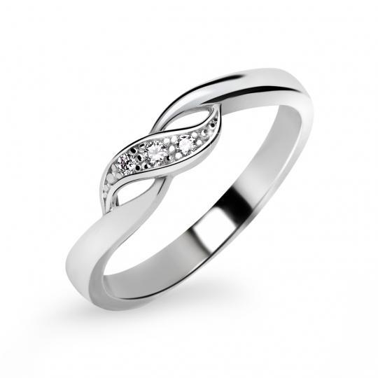 Zlatý dámský prsten DF 3517 z bílého zlata, s briliantem