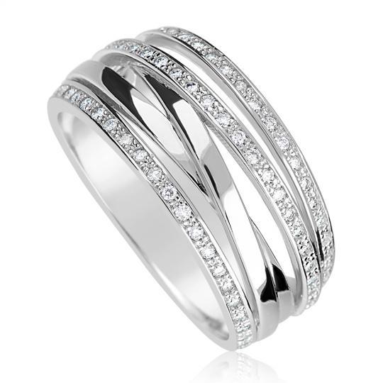 Zlatý dámsky prsteň DF 3554 z bieleho zlata, s briliantom