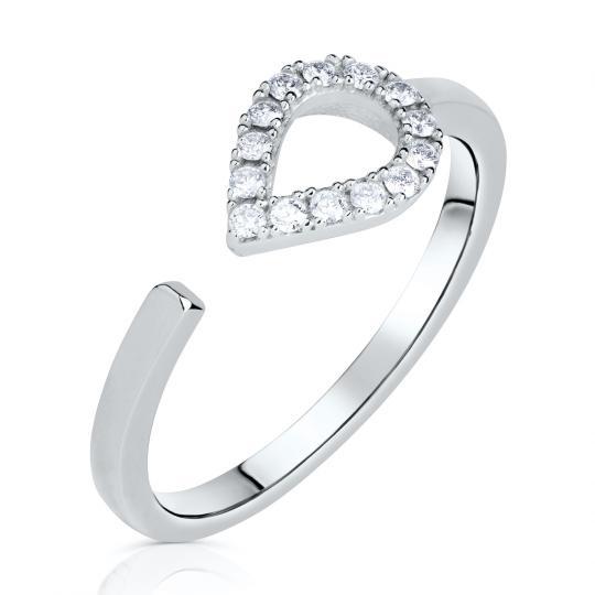 Zlatý dámský prsten DF 3587 z bílého zlata, s brilianty