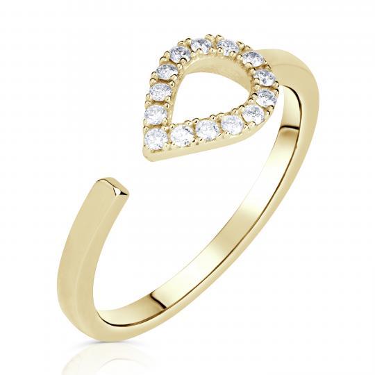 Zlatý dámský prsten DF 3587 ze žlutého zlata, s brilianty