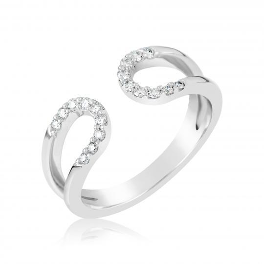 Zlatý dámsky prsteň DF 3600 z bieleho zlata, s briliantom