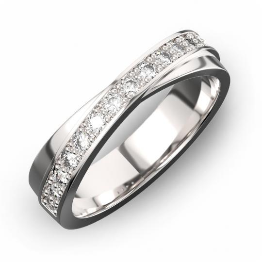 Zlatý dámský prsten DF 3650 z bílého zlata, s briliantem