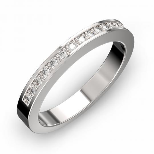 Zlatý dámsky prsteň DF 3664 z bieleho zlata, s briliantom