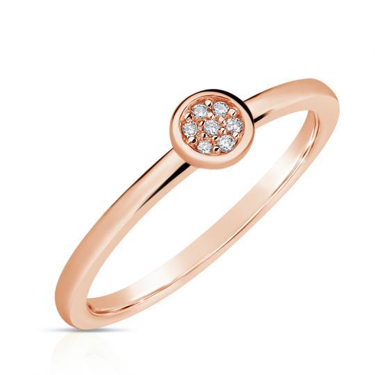 Zlatý dámský prsten DF 4210 z růžového zlata, s brilianty