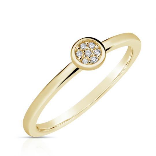 Zlatý dámský prsten DF 4210 ze žlutého zlata, s brilianty