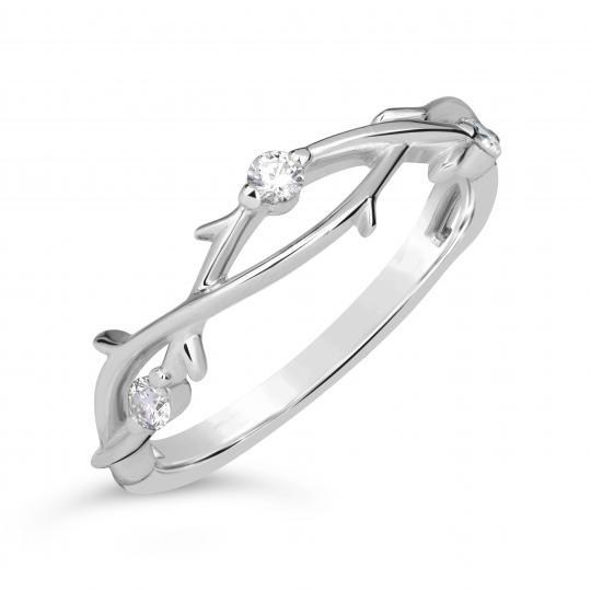 Zlatý dámsky prsteň DF 4441 z bieleho zlata, s briliantom
