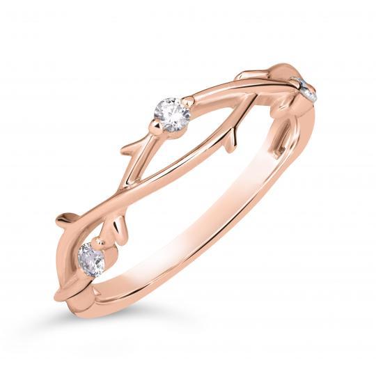 Zlatý dámský prsten DF 4441 z růžového zlata, s brilianty