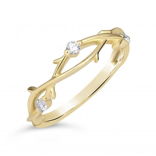 Zlatý dámský prsten DF 4441 ze žlutého zlata, s brilianty